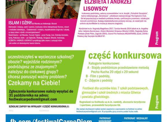 IV Międzyszkolny Festiwal Podróżniczy Carpe Diem zbliża się wielkimi krokami!
